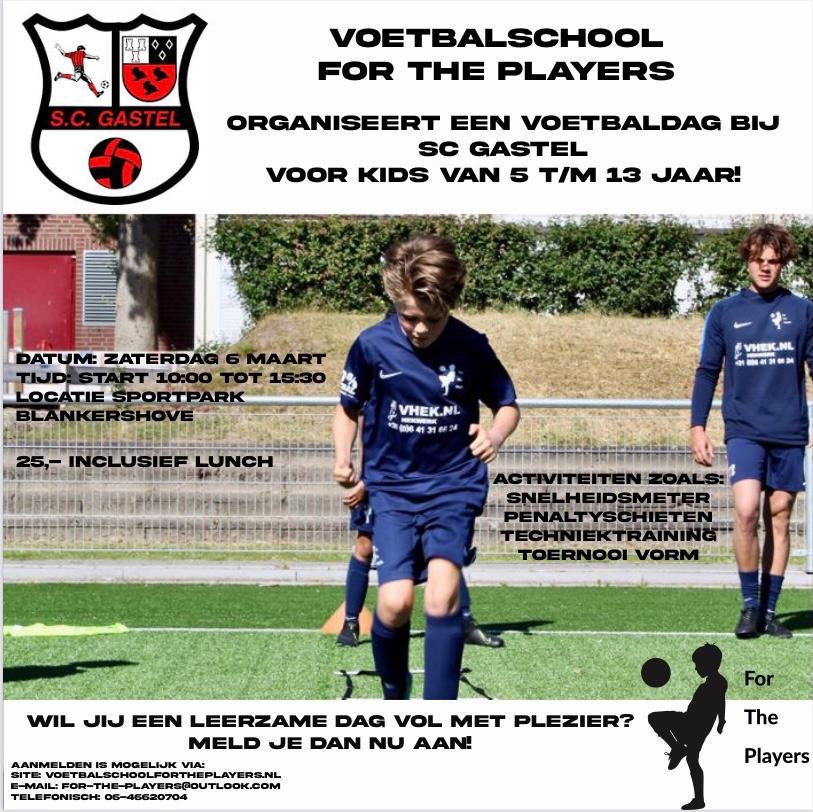 Voetbalschool For the Players organiseert voetbaldag bij SC Gastel voor leden van SC Gastel (5 tm 13 jaar)