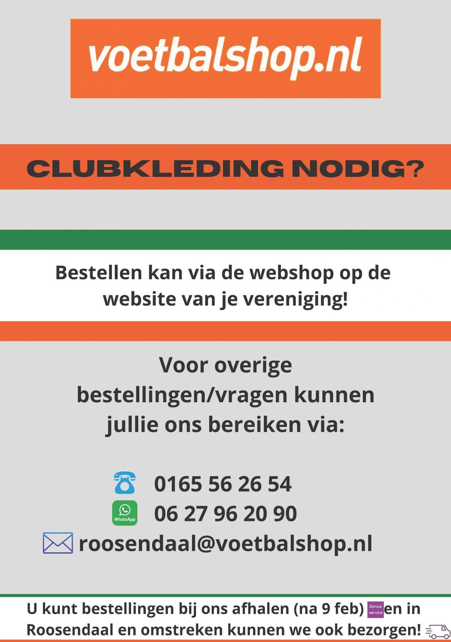Clubkleding nodig? Bestel ze bij voetbalshop.nl