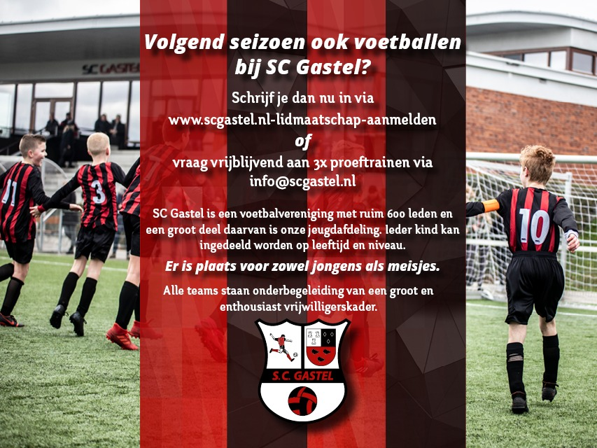 Volgend seizoen ook voetballen bij SC Gastel?
