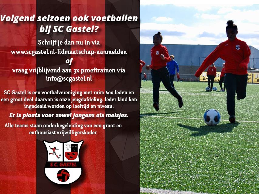 Volgend seizoen voetballen bij SC Gastel? Meld je snel aan.