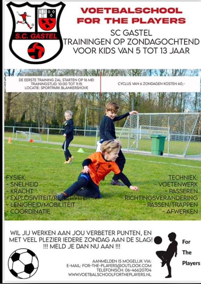 Voetbalschool For the Players trainingen op zondagochtend